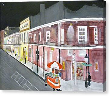Slow Night On Bourbon St. Canvas Print by Cathy Jourdan