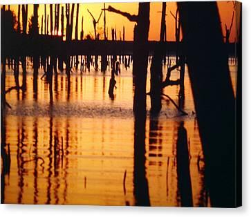 Slue Sunset Canvas Print by Myrna Salaun