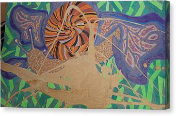 Biro Art Canvas Print - Slug And Flower by Peter Adam