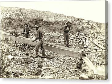 Sluice Box Placer Gold Mining C. 1889 Canvas Print by Daniel Hagerman