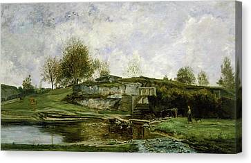 Sluice In The Optevoz Valley Canvas Print by Charles-Francois Daubigny