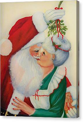 Sly Santa Canvas Print by Joni McPherson