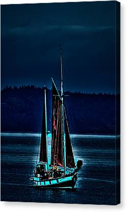 Small Among The Tall Ships Canvas Print by David Patterson