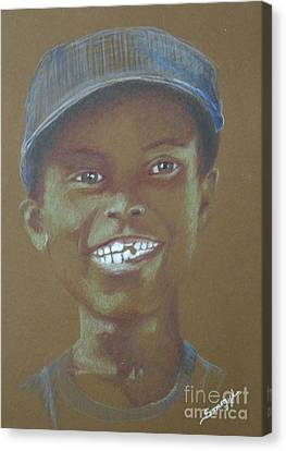 Small Boy, Big Grin -- Retro Portrait Of Black Boy Canvas Print
