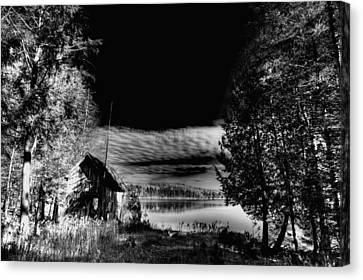 Mountain Cabin Canvas Print - Small Cabin On Seventh Lake by David Patterson