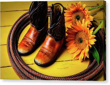Small Cowboy Boots And Sunflowers Canvas Print
