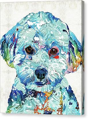 Small Dog Art - Soft Love - Sharon Cummings Canvas Print