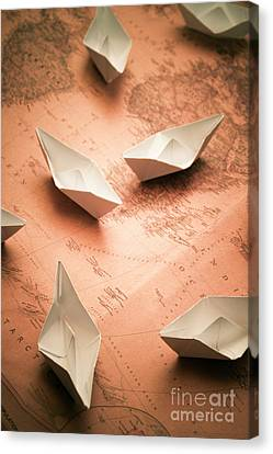 Small Paper Boats On Top Of Old Map Canvas Print by Jorgo Photography - Wall Art Gallery
