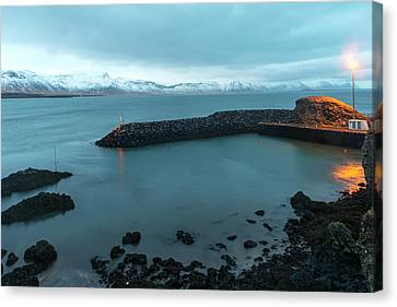 Canvas Print featuring the photograph Small Port Near Snaefellsjokull Mountain, Iceland by Dubi Roman