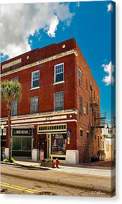 Small Town Shops Canvas Print by Christopher Holmes