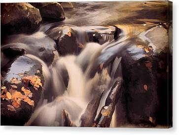 Small Waterfall In Autumn Canvas Print by Dan Sproul