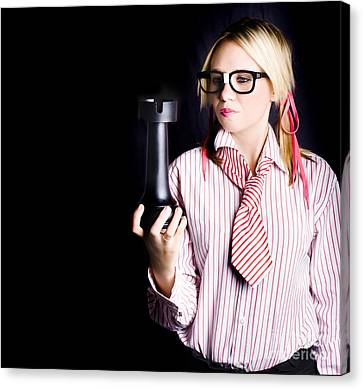 Smart Businesswoman With Oversized Chess Piece Canvas Print