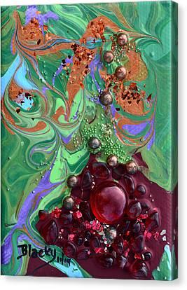 Smashing A Pomegranate Canvas Print by Donna Blackhall