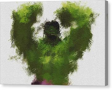 Character Portraits Canvas Print - Smashing Green by Miranda Sether