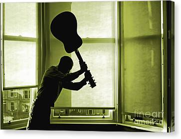 Canvas Print featuring the photograph Smashing Up A Guitar by Craig B