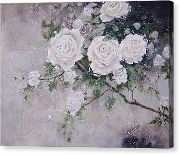 Canvas Print featuring the painting Smell The Roses  by Laura Lee Zanghetti