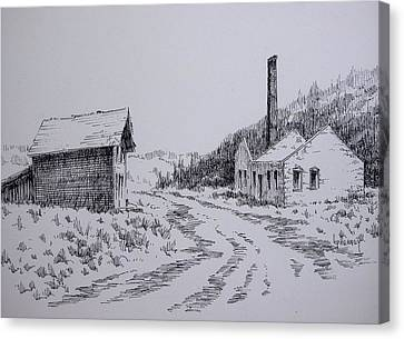 Smelter Ruins Glendale Ghost Town Montana Canvas Print by Kevin Heaney