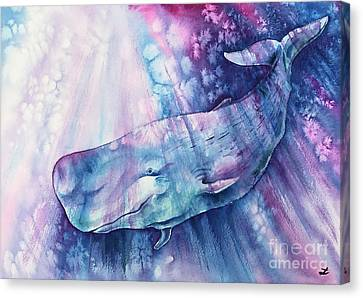 Canvas Print featuring the painting Smile Of Cachalot by Zaira Dzhaubaeva