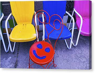 Empty Chairs Canvas Print - Smile On Chair Seat by Garry Gay