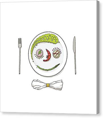 Smiley Face Created With Food On Plate Canvas Print
