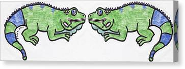 Smiley Iguanas Canvas Print by Yshua The Painter