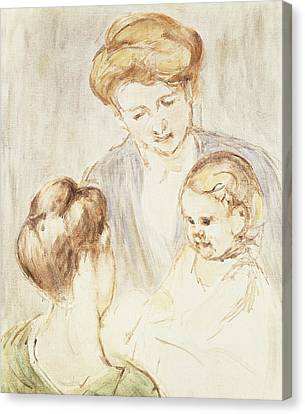 Caring Mother Canvas Print - Smiling Baby With Two Girls by Mary Stevenson Cassatt
