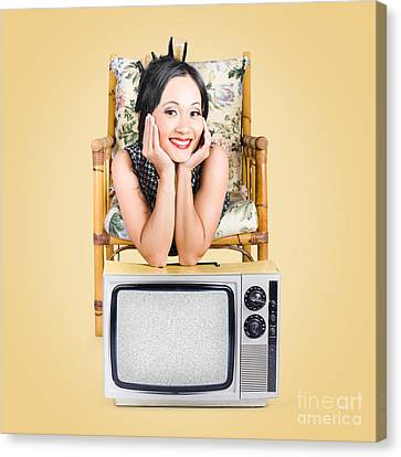 Smiling Beautiful Woman At Rest On Old Television Canvas Print by Jorgo Photography - Wall Art Gallery