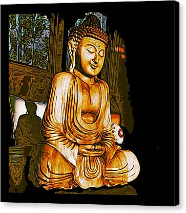 Smiling Buddha Canvas Print by Paul Cutright