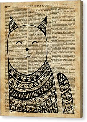Smiling Cat Pen And Ink Zentagle Dictionary Art Canvas Print