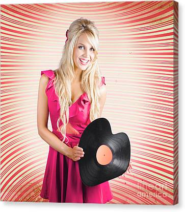 Smiling Dj Woman In Love With Retro Music Canvas Print by Jorgo Photography - Wall Art Gallery
