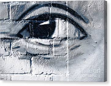 Canvas Print featuring the painting Smiling Graffiti Eye by Yurix Sardinelly