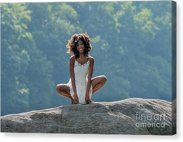 Smiling On The Rock Canvas Print by Dan Friend