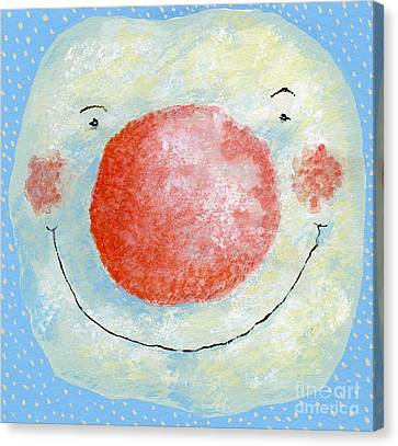 Smiling Snowman  Canvas Print by David Cooke