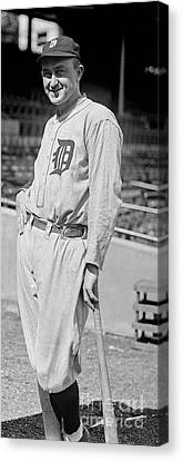 Baseball Glove Canvas Print - Smiling Ty Cobb by Jon Neidert