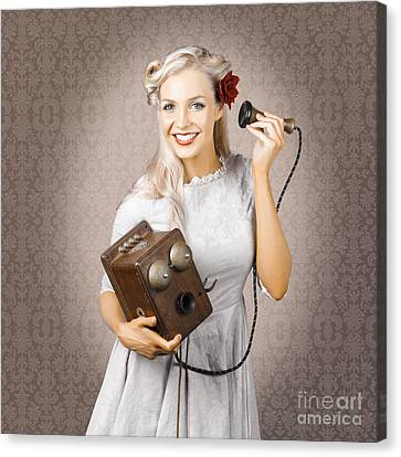 Youthful Canvas Print - Smiling Vintage Woman Hearing Good News On Phone by Jorgo Photography - Wall Art Gallery