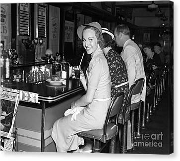 Smiling Woman At Diner, C.1940s Canvas Print