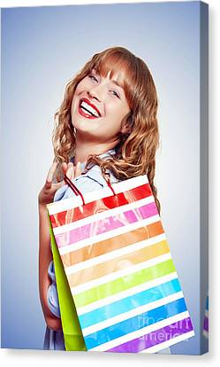 Smiling Woman With Shopping Bag Canvas Print by Jorgo Photography - Wall Art Gallery