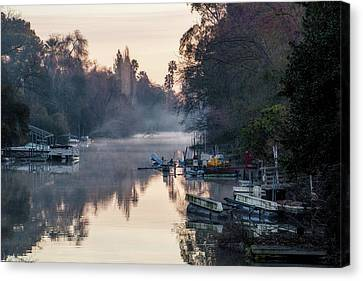 Water Vessels Canvas Print - Smith Canal In Winter by Terry Davis