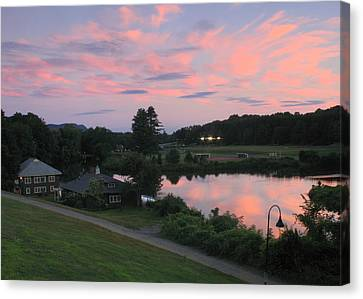 Smith College Paradise Pond Sunset Canvas Print by John Burk