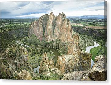 Canvas Print featuring the photograph Smith Rock From Misery Ridge by Tim Newton