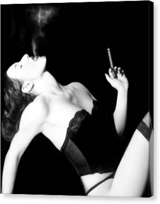Boudoir Canvas Print - Smoke And Seduction - Self Portrait by Jaeda DeWalt