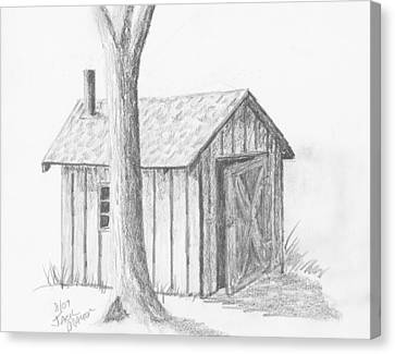 Canvas Print featuring the drawing Smoke House by Jack G  Brauer