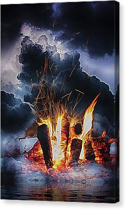 Music Inspired Art Canvas Print - Smoke On The Water And Fire In The Sky by John Haldane