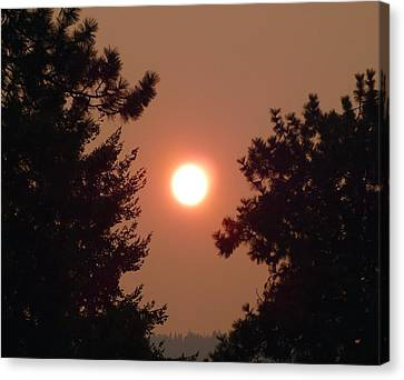 Canvas Print featuring the photograph Smoke Shrouded Sun   by Will Borden