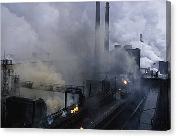 Smoke Spews From The Coke-production Canvas Print by James L Stanfield