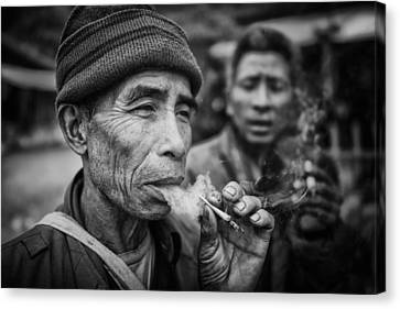 Smokers Canvas Print by Franz Sussbauer