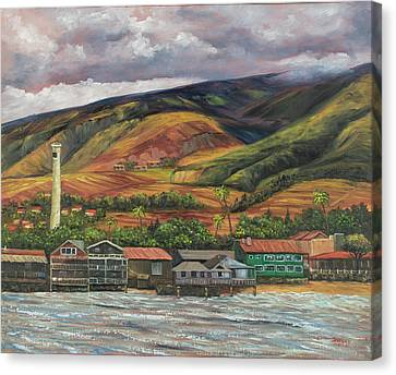 Canvas Print featuring the painting Smokestack Lahaina Maui by Darice Machel McGuire