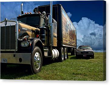 Smokey And The Bandit Tribute 1973 Kenworth W900 Black And Gold Semi Truck And The Bandit Transam Canvas Print