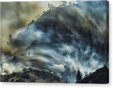 Smokey Hillside Canvas Print by Bill Devlin