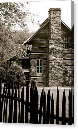 Smokey Mountain Farm Cabin With Picket Fence Canvas Print by Kimberly Camacho